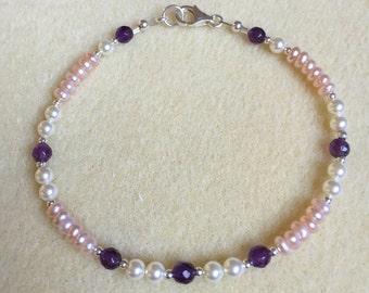 Amethyst, Pink Freshwater Pearl, Swarovski Pearl, Sterling Bracelet