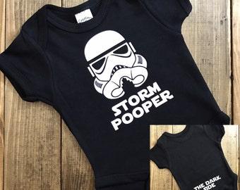 Star Wars Baby Onesie - Storm Pooper - The Dark Side Star Wars Onesie - Storm Trooper Onesie - The Empire Strikes Back - Black Unisex Onesie