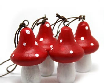 Fly Amanita, Set of 4 Holiday Ornaments