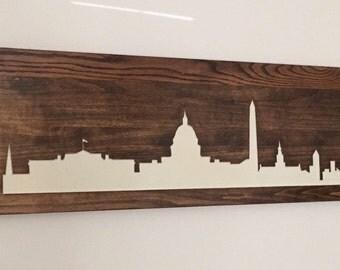 washington dc skyline carved in wood