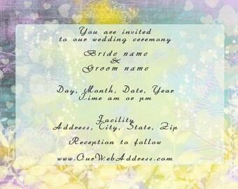 Wedding Invitation #123 'Sunny Repose DIY - Quietness' RSVP, Save the Date, Thank You, Menu - floral pastels