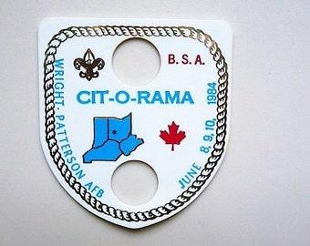 1984 - Boy Scouts Event Neckerchief Slide .. BSA Wright-Patterson AFB Boy Scout Souvenir