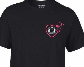 Heart Stethoscope RN LPN CNA Nurse  Monogram Initials T Shirt Custom Personalize T shirt - Your Initials  Cute    Health Care