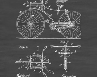 1892 Bicycle Patent - Cyclist Gift,  Bicycle Decor, Vintage Bicycle, Bicycle Blueprint, Bicycle Art, Bicycling Enthusiasts, Bike Patent