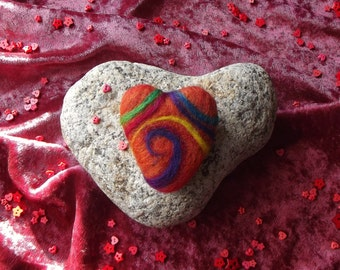 SALE: Handmade Felt Heart Brooch - Needle Felted, Spiral, OOAK,