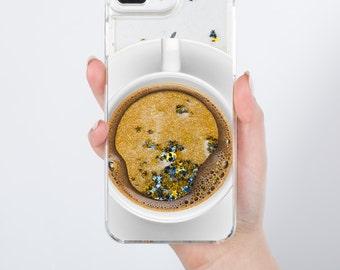 Liquid 7 Plus Case Holographic Case iPhone SE Case Sparkle iPhone 6S Case Moving Glitter Coffee iPhone 7 5s SE Phone Case Glitter Case RG012