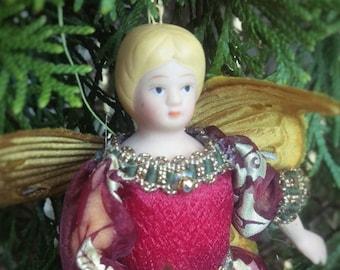 Vintage porcelain burgundy sugarplum fairy ornament, Christmas ornament, Nutcracker Suite, ballet ornament, Victorian china doll