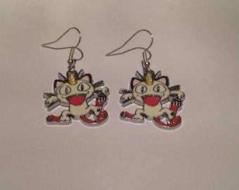 Cool Pokemon Meowth Charm Earrings
