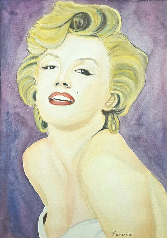 Marilyn Monroe, original watercolor, gift idea for fans, portrait of actress, wall art, home office decoration, bedroom, living room.