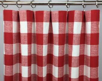 Red Buffalo Check Curtains - FREE SHIPPING - Plaid Check - Red Gingham Drapes - Red Plaid Drapery - Rod Pocket - 24 50 x 63 84 96 108 120