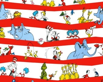 """Dr. Seuss Fabric, DR SEUSS Red Stripe Story Book Fabric, Cat in the Hat Fabric, Green Egg and Ham Fabric, 100% Cotton Fabric Remnant 48""""x44"""""""