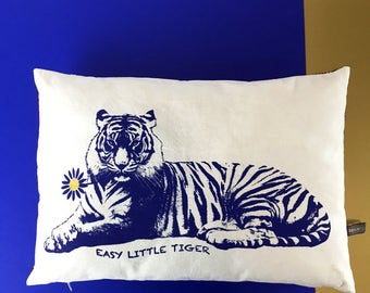 Tiger hand screen printed cushion - Hand screen printed CUSHION Tiger
