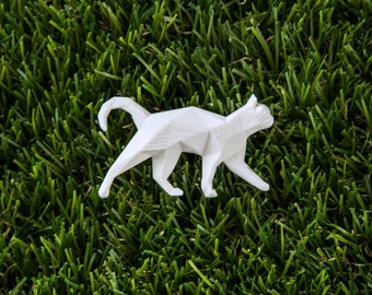 White Cat - 3D printed Polygonal Brooch