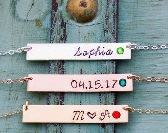 Best Friend Christmas Gift Birthstone Bar Necklace • Initial Bar Gift Handstamped Name Bar Crystal Necklace • Birthstone Mom Gift • BS_17