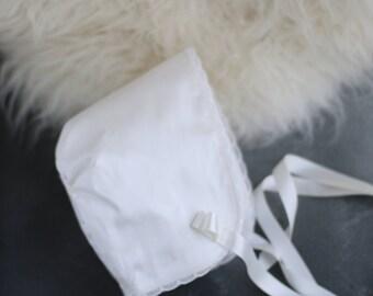 Clara Christening Bonnet/Baptism bonnet with lace trim/Girls Christening Hat/Blessing bonnet/White silk Bonnet/Ivory silk Christening bonnet