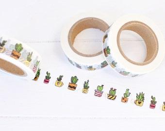 Gold Foil Succulent Washi Tape. 15mm x 10m. Cactus Washi Tape. Foil Washi Tape. Succulent Planner Accessories. Planner Supplies. Cute Washi.