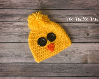 Baby Chick Beanie, 0-12 Months, Crochet Hat, Easter Prop, Spring, Baby Hat