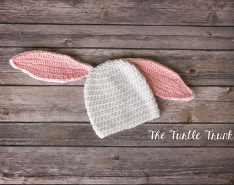Baby Bunny Beanie, 0-12 Months, Crochet Hat, Photo Prop, Bunny Hat, Baby Hat