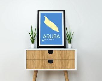 "Aruba Travel Poster 8x10"" Instant Download & Print - Aruba Art Print, Minimalist Travel Poster, Modern Art Print, Map Poster, Wall Art"