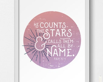 He Counts the Stars | Printable Wall Decor | Scripture/Bible Verse