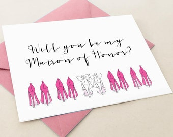 Will you be my Matron of Honor card, Matron of Honor proposal card