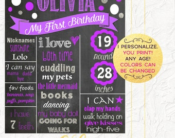 Girl First Birthday Chalkboard, Purple and Silver Chalkboard, First Birthday Poster, Birthday Photo Prop, Milestones Board, Digital File