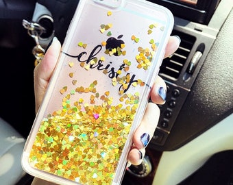 Liquid Glitters Handmade Sparkle Fading Transparent Phone Case 5/5s/SE/6/6s/6s/7 plus for iPhone & Samsung s6/S7/S8 edge+ Clear