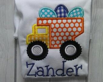 Boy easter shirt, easter egg shirt, dump truck easter shirt, baby easter shirt, monogrammed easter shirt, easter applique shirt, boys easter