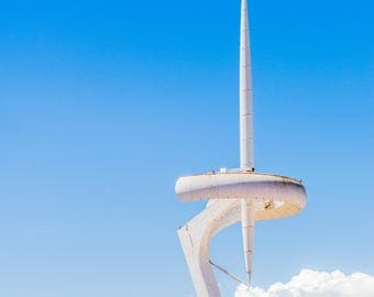 Montjuic Communication Tower - Barcelona Photography - Wall Art - Fine Art Photography - Blue - Barcelona Decor  - Olympico  - 0052
