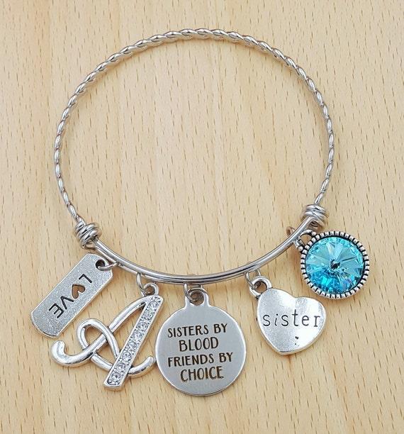 Sister Bracelet Birthstone Bracelet for Sister Sister Gift Sister Jewelry Birthday Gift for Sister Personalized Bracelet Initial Bracelet