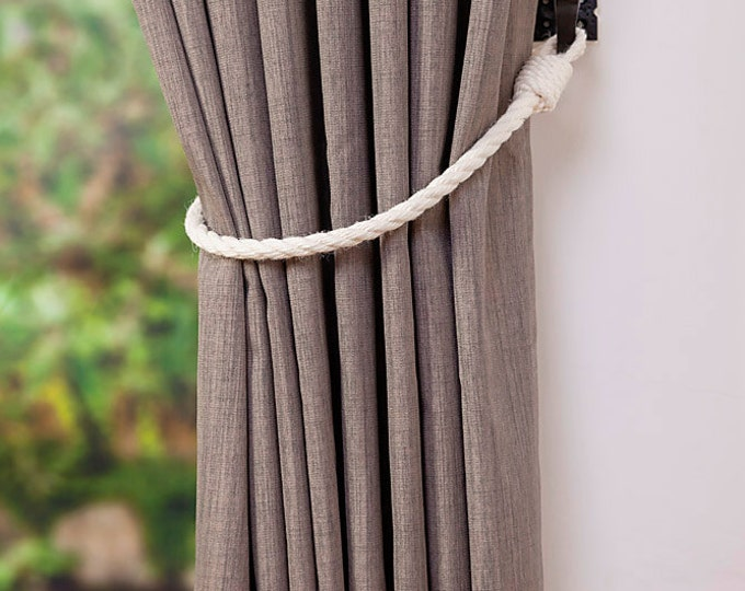 Cotton Rope Curtain Tie-backs/ Nautical Style Curtain Ties/ Rope Tie backs/ Curtain Hold backs/ Shabby Chic Window Treatment/ Simple Tieback