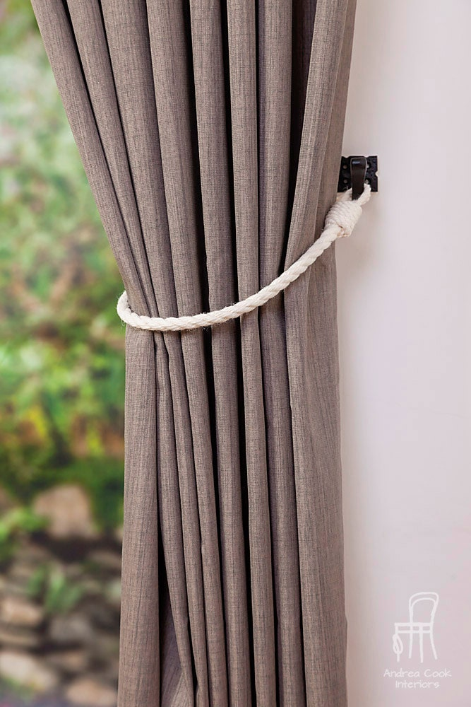 Cotton rope curtain tie backs nautical style curtain ties for Rideaux style shabby chic
