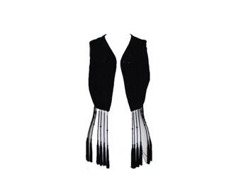 Vintage Dolce and Gabbana Black Beaded Fringed Vest 1980s