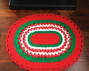 Christmas Crochet Rug - Farmhouse Decor - Handmade Rug - Housewarming Gift - Farmhouse Decor - Welcome Mat - Front Door Decor - Outdoor Mat