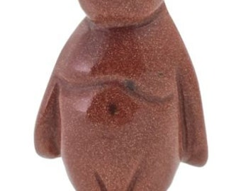 Penguin Red Goldstone Hand Carved Gemstone Animal Totem Statue Sculpture