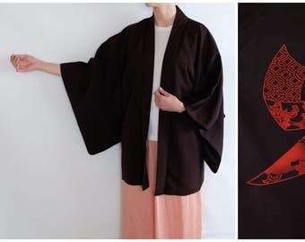 Oriental Kimono - Chocolate Brown Vintage Kimono - Silk Kimono - Japanese Haori Kimono - Vintage Kimono - Traditional Motif Kimono - Boho