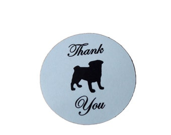 Pug Dog Round Thank You Self Adhesive Glossy Labels Envelope Seals Sticker Wedding Favors