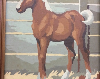 Horse Paint By Number Painting Pair of Colts in Stable Scene