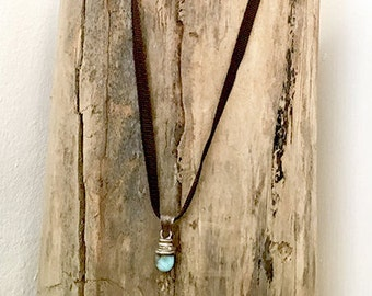 necklace AMAZONIA, black cord with pendentive pearl turquoise, jewerly Boho Gypsy-Chic
