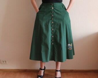 Dirndl Skirt Alpen Trachten Loden Dirndl Cotton Full Skirt German Austrian Tyrolean Bavarian Skirt Green  Skirt High Waist Large Size