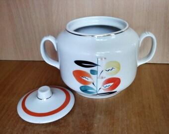 Vintage Sugar Bowl, Ceramic Sugar Bowl, Old Sugar Pot, Sugar Bowl with Lid, Porcelain Sugar Bowl, Russian Covered Sugar Pot, Sugar box