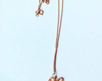 peach quartz butterfly kiss on gold chain