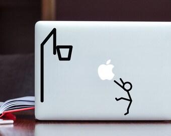 Stickman basketball trow Apple MacBook Decal / Stick figure hoop basket Laptop Decal / iPad Decal vinyl sticker