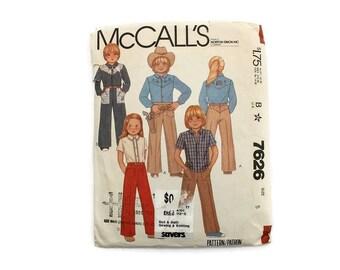 1980s Vintage Sewing Pattern - McCalls 7626 - Kids Western Shirt Wide Leg Pants