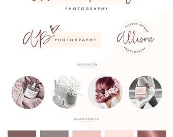 logo design, branding package, business logo design,  branding kit, custom logo , photography logo, premade logo, wedding watercolor  logo