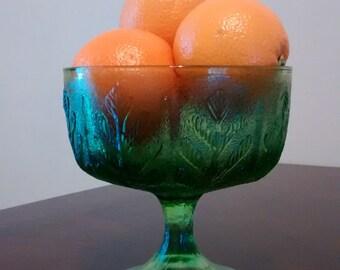 Emerald green compote green glass vase green glass leaf pattern pedestal bowl vintage FTD 1978 leaf bowl compote
