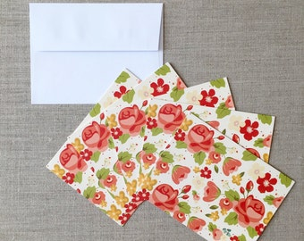 "Set of 5 Flower Blank Cards with White Envelops - Greeting Card - Note Cards - 4.25""x 5.5"" (10.7cm x 14cm) - (white)"
