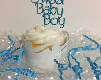 Sweet Baby Boy Cupcake Topper ~ Baby shower ~ boy ~ blue glitter ~ he