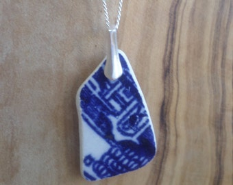 Blue and White Beach Pottery Sterling Silver Necklace Pendant, Northumberland, Sea Pottery, Beach Jewelry, Beach Pottery, Pottery Necklace