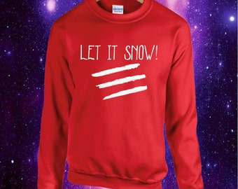 Let It Snow Christmas Jumper Sweatshirt Xmas Cocaine Coke Lines Funny Flakes
